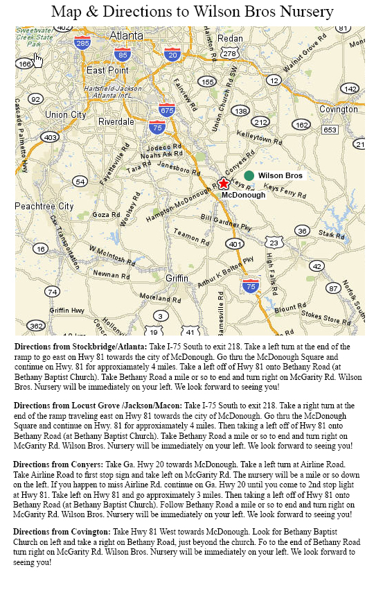 Map To Wilson Bros Nursery
